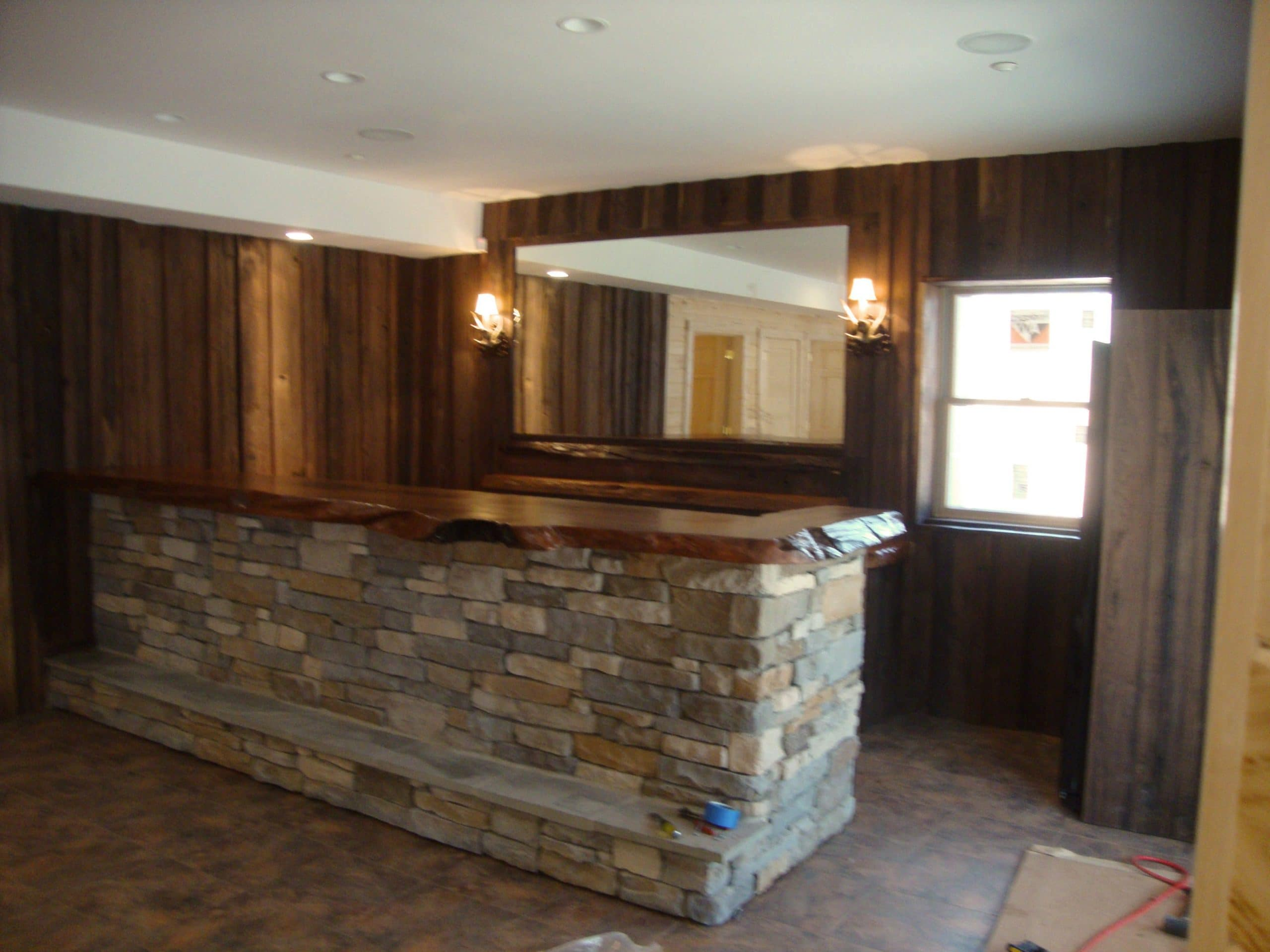 handcrafted rustic black walnut and large slab redwood burl counter bar by kelly maxwell brown solid wood shape home