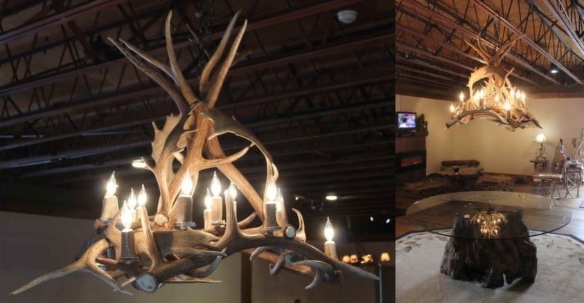Rustic fallow and elk chandelier