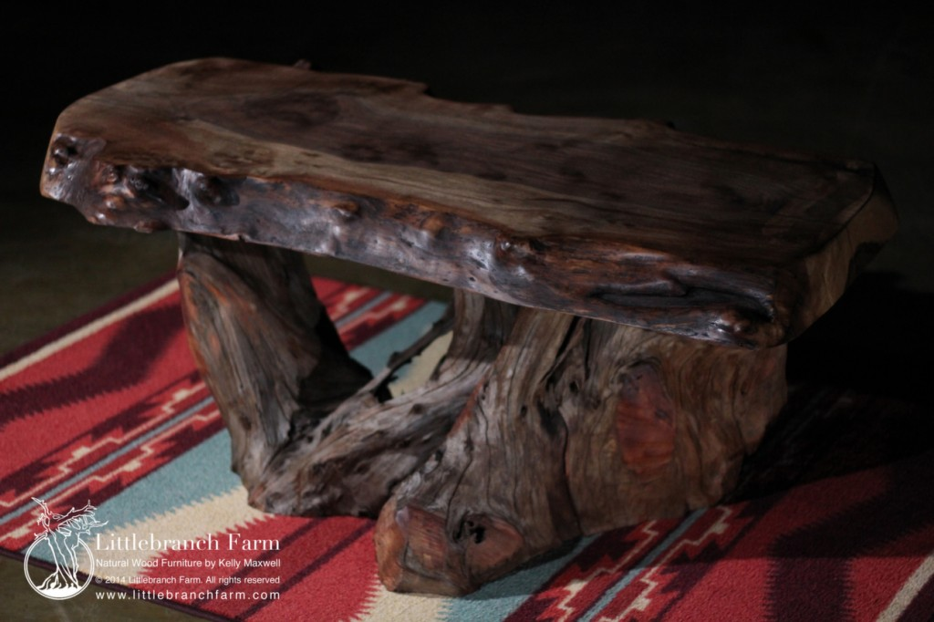 Rustic coffee table made from walnut and western cedar